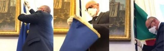 Kijk hier: Vicevoorzitter Italiaanse Kamer is het zat en haalt EU-vlag weg